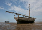 Fishing boats at low tide in the Indian Ocean