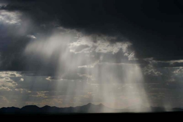 Sun rays and mountains