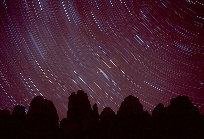 Star and airplane trails - Canyonlands
